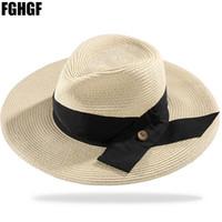 chapéu de abas largas de palha preta venda por atacado-FGHGF Natural Mulheres Verão Aba Larga Panamá Chapéus De Palha Floppy Hat Grande Fita Preta Fedora Praia Chapéu de Sol UPF50 +