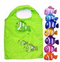Wholesale fishing bags - Hot New 7 Colors Tropical Fish Foldable Eco Reusable Nylon Large Bags Shopping Bags 38cm x58cm