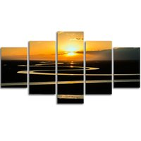 Wholesale River Digital - MingTing - 5 Panel Canvas Wall Art River Under The Sunset Landspace Poster Painting Modern Home Decor For Living Room Aisle No Frame