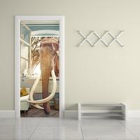 fil 3d çıkartmaları toptan satış-DIY Fildişi Fil Kırık Pencere Kapı Çıkartmalar Duvar Kağıdı Su Geçirmez Çıkarılabilir 3D Vinil Çıkartmaları Oturma Odası Yatak Odası Ev Dekoratif Duvar