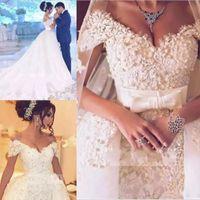 Wholesale 3d flowers dresses for sale - Arabic D Floral Flowers Wedding Dresses With Overskirt Appliques Mermaid Dubai Bridal Gown Luxurious Wedding Gowns