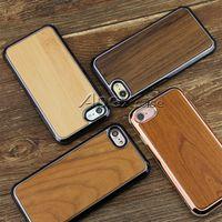 caja del teléfono de madera de bambú al por mayor-Caja de teléfono de madera real de calidad Prermium para iPhone X, iPhone 8, 7 Samsung S9 Plus Naturaleza Madera tallada Madera Bambú Diseño delgado