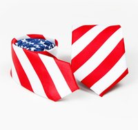 Wholesale flag ties - USA American Flag neck tie Red White Blue Skinny Mens Stage performance Neck Suit Tie FFA610