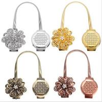 mıknatıslar perdeleri toptan satış-Altın Gümüş Çiçek Tel Perde Tieback Mıknatıs Perdeleri Toka Manyetik Perde Tutucu Perde Askı Aksesuarları