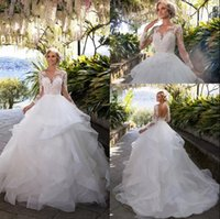 camadas do vestido de casamento do vestido de baile venda por atacado-2019 Multi-Camadas Ruffles Vestidos de Casamento Com Sheer Mangas Compridas Apliques de Organza Vestidos de Baile Vestidos de Noiva Do Vintage Sem Encosto Vestidos de Casamento