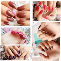 Wholesale fingernail stickers - Nail Sticker Colorful Style Cameo Brown Pumpkin False Fake Nail Art Fingernail Full Tips Solid Nail Patch Sticker