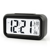 Wholesale smart sensor alarm wholesale for sale - Mute Digital Alarm Clock Smart Sensor Nightlight LED Light Table Clocks With LCD Screen Plastic Timepiece Multi Function zj BB