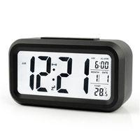 dijital saat sesini kapatma toptan satış-Sessiz Dijital Çalar Saat Akıllı Sensör Nightlight LCD Ekran Ile LED Işık Masa Saatleri Plastik Timepiece Çok Fonksiyonlu 14zj BB