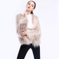 abrigo de piel de botón al por mayor-Furry Fur Coat Mujeres Fluffy Warm manga larga Slim Outerwear Otoño Invierno cubierto Button Coat Chaqueta Overcoat Plus Size 3XL