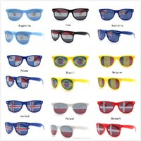 Wholesale costume national men - 2018 Newest World Cup National Flag Eyewear Cosplay Costumes Accessories Funny Retro Sunglasses Bar Party Fans Sun Glasses