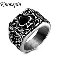 Wholesale 13 motor - Hot Sale Titanium Steel Spades Logo Men's Rings Punk Retro Poker Rings for Men Motor Biker Jewelry US Size 9-13 anel masculino