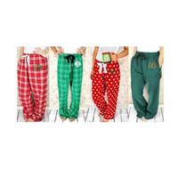 roter polka dot pyjama groihandel-Plaid-Weihnachtspyjamas plaidieren lange Hosenpolkapunktmusterhosenfrauen rote grüne lose Hosen des Zugschnurentwurfs