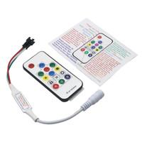 traumfarbe geführtes streifen großhandel-Edison2011 SP103E Mini RF Controller mit 14 Tasten Funkfernbedienung für DC5-24V WS2812 WS2811 Traumfarbe LED-Lichtstreifen