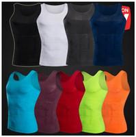 chaleco para adelgazar camisa de los hombres al por mayor-9 colores para hombre que adelgaza el cuerpo de la camisa del chaleco de la talladora camiseta sin mangas de los hombres de la panza del chaleco Pierde la camisa del peso Compresión delgada Muscle Tank CCA8767 100pcs