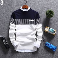 Wholesale wool strips - New Korean Fashion Men's Knitted Sweater Autumn Winter Strips Soft Cotton Long Sleeve Sweater