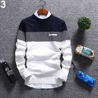 camisola coreana dos homens da forma venda por atacado-Nova camisola de malha dos homens de moda coreano outono inverno tiras suéter de algodão de manga longa de algodão