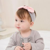 Wholesale hair hats bows - Baby Headbands Cotton Knot Bows Bunny band Elastic Cute Hairbands brithday hat Head Bands for Children Soft Hair Accessories KHA665