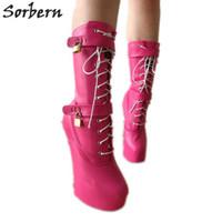 hufsohle großhandel-Großhandel Schwere Hufsohle Heelless Mitte der Wade Stiefel Frauen Plattform Heels Nach Maß Farben Pink Matte Huf Stiefel Frauen