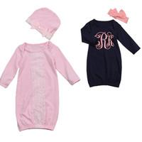 Wholesale Lace Baby Blanket - 2017 Brand New Infant Toddler Newborn Baby Long Sleeve Swaddle Soft Warm Envelope Blanket Lace Sleeping Bag Headband Hat 2PCS