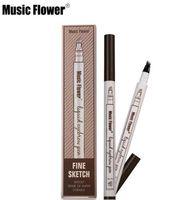 Wholesale head stock - DORP In stock Music Flower Liquid Eyebrow Pen Makeup Enhancer Four Head eyebrow Pencil Enhancer Waterproof 3 Colors chestnut brown dark grey
