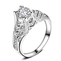 anillo de oro blanco día de san valentín al por mayor-Ms. White Gold Alloy Ring Joyas de diamantes llenas Regalo de San Valentín Anillo de diamantes de moda