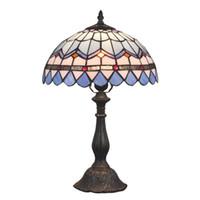 lumières méditerranéennes achat en gros de-OOVOV Tiffany Salle D'étude Lampe De Bureau Méditerranéenne Bleu En Verre Lits En Verre Lampes De Table Lumière Enfants Chambre Lampes De Bureau