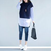 Wholesale Loose Shirts For Women - Autumn spring Plus size Blouses for women Long sleeve Loose Striped false two piece Shirts Blue and Black colors