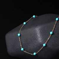 Wholesale Turquoise 14k Jewelry - Handmade original 14K Gold jewelry simple temperament Blue Turquoise Necklace female short chain wholesale clavicle 14k gold filled necklace
