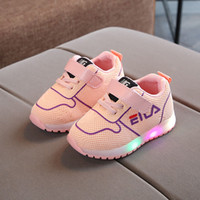 Wholesale baby tennis shoes online - European fashion high quality baby first walkers LED lighted girls boys shoes fashion infant tennis cool kids baby sneakers footwear