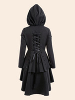Wholesale Tailcoat Bow - Gamiss Women Trench Coat 2017 Black Gothic Overcoat Hooded Bow Button Lace Up Vintage Tailcoat Fashion Slim Overcoat