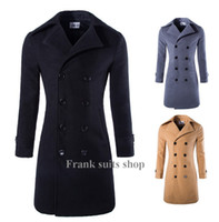 Wholesale Custom Trench Coats - Custom made 2017 New arrival winter long cotton blends Trench Coat fahsion double breasted mens pea coat