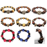 Wholesale Black Resin Spikes - Wooden Bead Bracelet Mix 9 Styles Stretch Strands Chain Flower Spike Abacus Round Colorful Pattern Wood Beads Charm Unisex Bracelets (JM008)