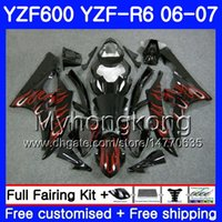 Wholesale 24 frames for sale - Body Tank For YAMAHA YZF R YZF YZF YZFR6 Frame HM YZF R6 YZF600 YZF R6 Red flames gloss Fairings Kit