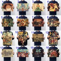 Wholesale Paper Pirates - 16 Types One Piece Wall Stickers Brown Paper Pirate Luffy One Piece Concert posters Card Home Decor Wall Paper 20.47x14.17in Drop Shipping