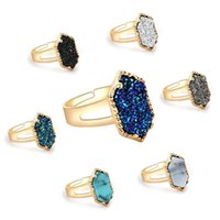 Wholesale Men Diamond Ring Designs - 15 Designs Adjustable Diamond Druzy Rings Men Women Engagemen Rings Luxury Jewelry Mens Wedding Rings Stainless Steel Jewelry Fashion Bague