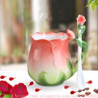 tazas de esmalte de ceramica al por mayor-3D Rose Flower Enamel Coffee Mug Tea Milk Cup Set con cuchara Creative Ceramic Bone China Drinkware Valentine's Day Gift
