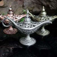 ingrosso lampade ad incenso-Fiaba Aladdin Magic Lamp Thurible Vintage Censer Bruciatore di aromi in metallo creativo Bruciatori di incenso a più colori Nuovo Arriva 11jc ZB