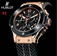 Wholesale Mens Watches Big Bang - luxury men automatic &#72ublot BIG BANG steel golden white watch mechanical sport mens watches rubber band Wristwatch