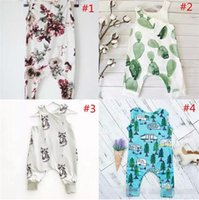 Wholesale kids clothing sets christmas - INS Baby Boys Girls Summer Clothing Sets Kids Printed Floral Sleeveless Animal Short Sleeve Heart Flowers Jumpsuits B11