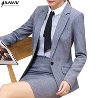 ladies plus skirt suits Australia - New Business gray black skirt suits winter fashion formal long sleeve slim blazers with skirt office ladies plus size work wear
