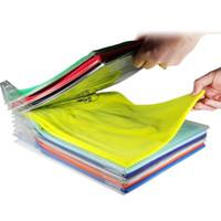 giyim seyahat organizatörleri toptan satış-H19948-1 1 Katmanlı Anti-kırışıklık Düzgün Giysi Saklama Tutucu Raf T-shirt Organize Sistemi Seyahat Klozet Organizatör Gömlek Klasörü