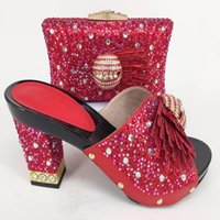 Wholesale hotel matches - Newest Red Color African Shoes and Matching Bags Italian Shoes and Bags To Match Shoes with Bag Set Decorated with Rhinestone
