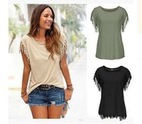Wholesale tassel tshirts for sale - Group buy Summer European Girl T shirt Clothes Short Sleeved Tassels T shirts For Tshirts Women Solid Color Female T shirts Womens Shirts