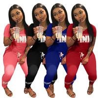 Wholesale Women Shirt Trend - Trend Pink Women Sportswear Suit Leggings T-Shirts Running Pullover Trousers Set Letter Print Short Sleeve Tops Pant 2Pcs Casual Tracksuit
