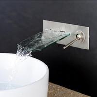 ingrosso rubinetto nave nero-cromo / nichel spazzolato / Black Waterfall Wall Mount Bagno Vessel Sink Faucet miscelatore Glass beccuccio