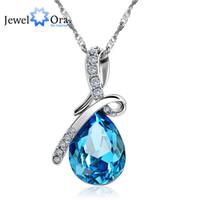 Wholesale Necklace Ideas - whole saleFashion Blue Crystal Water Drop Pendant Necklace Rhodium Plated CZ Necklaces & Pendants For Women Gift Ideas (Jewelora NE100982)