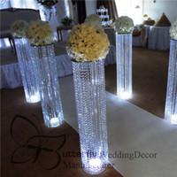 araña de cristal acrílico con cuentas al por mayor-El plomo boda 4 pies de cristal acrílico moldeada de la lámpara soporte carretera flor Metal la plata