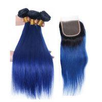 Wholesale blue ombre hair online - Fairgreat Pre Colored Human Hair Bundles With Closure Malaysia Peruvian Straight Human Hair Bundles With Closure B Blue Ombre Color Hair