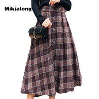 falda de lana coreana al por mayor-Mikialong 2017 falda larga de cintura alta larga de la vendimia para las mujeres de moda de corea falda a cuadros con cinturón suelta una línea patinador