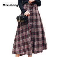 saia de lã coreana venda por atacado-Mikialong 2017 vintage cintura alta long maxi saia para mulheres coreano moda lã xadrez saia com cinto solto a patinadora de linha